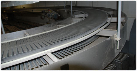 Bakery pan return radius conveyor